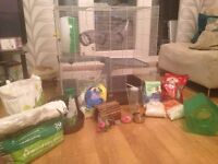 Pet cage for rats or other small animals, with accessories