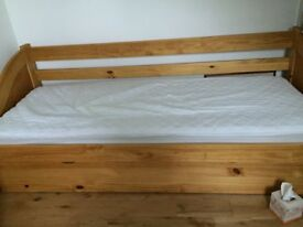 Excellent condition solid beechwood frame sofa bed with two mattresses nearly brand new