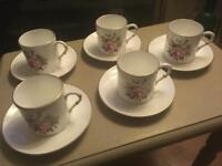 ROYAL WORCESTER CHINE COFFEE CUPS AND SAUCERS