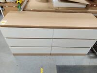 MALM Chest 6 drawers, white stained oak/White 160x78 cm WAS £115.00 IKEA Warrington, #bargaincorner