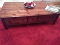 DUCAL, LARGE DARK PINE , COFFEE TABLE, WITH STORAGE FRO REMOTES / MAGAZINES SIZE 54 X 28 X 16