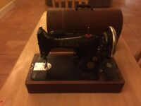 Antique 1937 Electric Singer Sewing Machine in Wood case