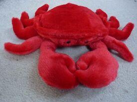 BNWOT Aurora Flopsie Red Plush Crab Soft Toy