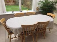 6 Chair Extendable Pine Wood Dining Table