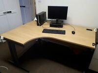 2 x large, light wood desks with cable holes. £30 each. Excellent work station, good condition