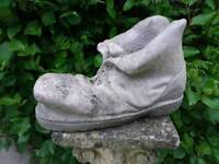 Vintage Cast Stone Old Boot Garden Planter With Snail Detail 23cm Tall
