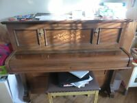 Lovely antique wooden style upright piano (Broadwood White & Co. London)
