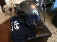 Aria motorcycle helmet in metallic grey