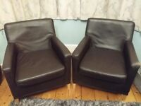 Pair of brown leather Ikea bespoke armchairs