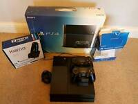 PS4 2tb console 2x controllers with charging station and headet