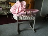 PINK GIRLS MOSES BASKET AND STAND