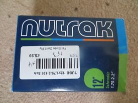 BRAND NEW NUTRAK INNER TUBES TO FIT TYRES 12 x 1.75-2.125 SCHRADER ONLY £4.00 EACH COST £5.99