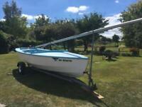 Wayfarer MK2 sailing dinghy on Road trailer fibreglass GRP construction