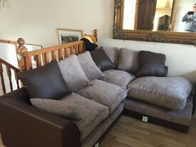 Faux leather corner sofa ,Brand new never been used ,brown /beige