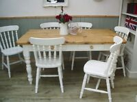 Stunning Pine Country Farmhouse 5½ft Table and Chair Set.