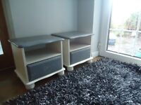 grey and white shabby chic bedside tables