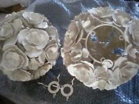 Two Shabby Chic Metal Rose Ceiling Light Shades