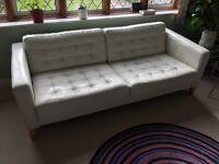 Karlstad leather Ikea sofa Grann white finish