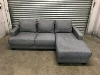 FREE DELIVERY LIGHT GREY FABRIC L-SHAPED CORNER SOFA GOOD CONDITION