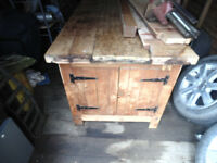 classic retro 1970s woodwork bench complete with vice. Has been used for a dining table.