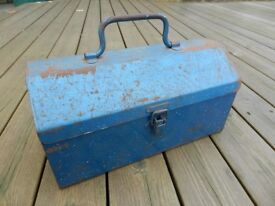 Old metal toolbox 30cm (12 inches) long x 15cm (6 inches) wide x 15cm (6 inches) high.
