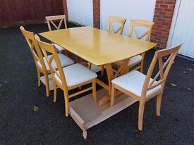 Elegant Extending Dining Table & 6 Cross Back Chairs FREE DELIVERY 001