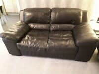 Black Leather 3 seater and 2 seater Sofa