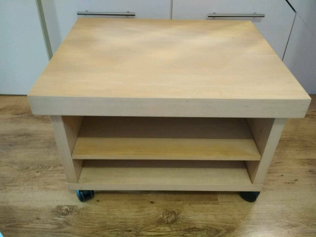 Ikea Oppli Coffee Table On Wheels Casters Light Beech Veneer