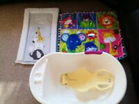 Baby set of 4( Baby bath with bath seat, changing mat and play mat)