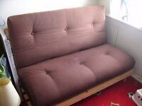 Double Chocolate Brown Futon Sofa Bed