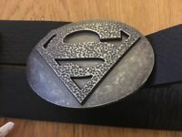 Black belt with Superman belt buckle