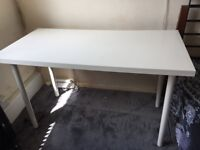 White wood table/desk with 1 step assembly