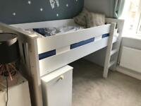 Cabin bed with mattress and pull out desk