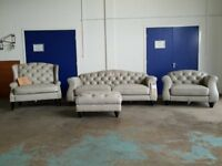 BRAND NEW PENELOPE LEATHER SUITE 3 + 2 SEATER SOFA ARMCHAIR FOOTSTOOL CHESTERFIELD STYLE CAN DELIVER