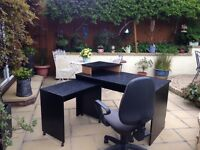 Black office table and chair