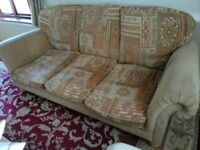 3 piece suite + foot stool, 3 seater settee and 2 arm chairs plus foot stool