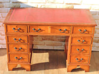Burr Quality Desk with ox blood top and multi drawers + Key (Delivery)