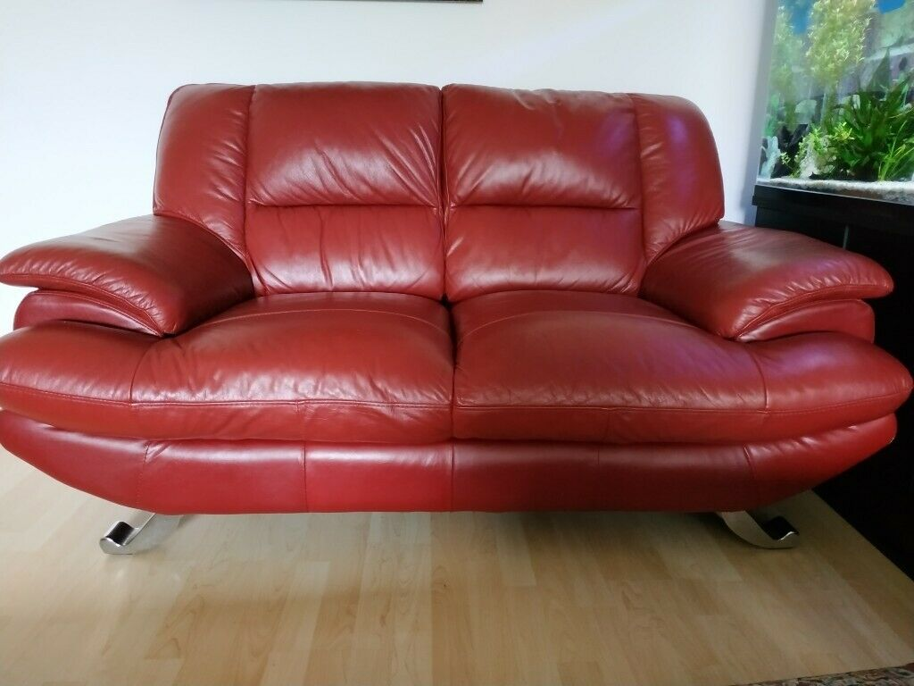 Cherry Red 2 Seater Leather Sofa 3 Seater Leather Sofa Very