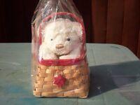 flower basket with teddy bear