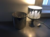 Lovely chrome touch lamp with matching ceiling light in New York theme