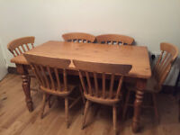 Very strong solid pine farmhouse dining table,5ft long, 3ft wide, very good condition