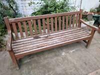 Solid garden wooden bench