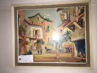 Attractive Vintage 1950s Original Framed & Glazed Print by D'oyly John 'Valbonne' France