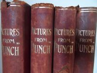 VINTAGE BOOKS , PICTURES FROM PUNCH VOLUME 1- 4 UNDATED HARDBACKS c 1904 -1906