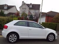 STUNNING! NEW MODEL (2009) AUDI A3 1.9 TDi e 3dr IBIS WHITE ONLY 75K MILES/FSH/£30 ROAD TAX/74.3 MPG