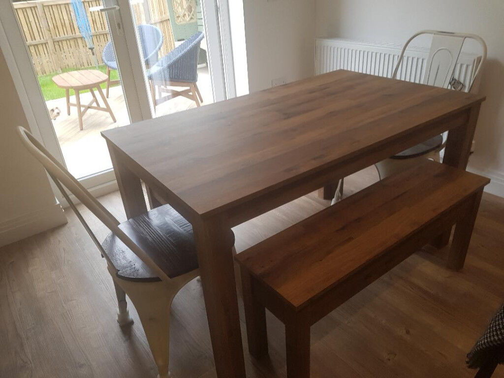 Next Kitchen Dining Table Bench Set Plus 2 Chairs