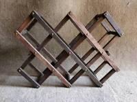 Retro vintage original wooden folding wine rack