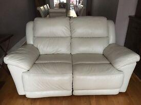 Pair of Cream leather reclining sofas