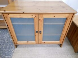 antique pine tv gorgeous tv and hi fi cabinet with glass doors, adjustable shelves. can deliver
