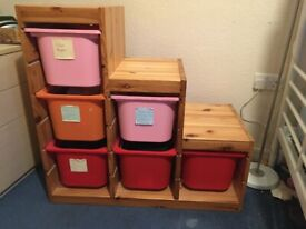 IKEA Trofast Storage Unit with Tubs (Stairs shape) 94 cm wide x 44cm deep x 91cm tall